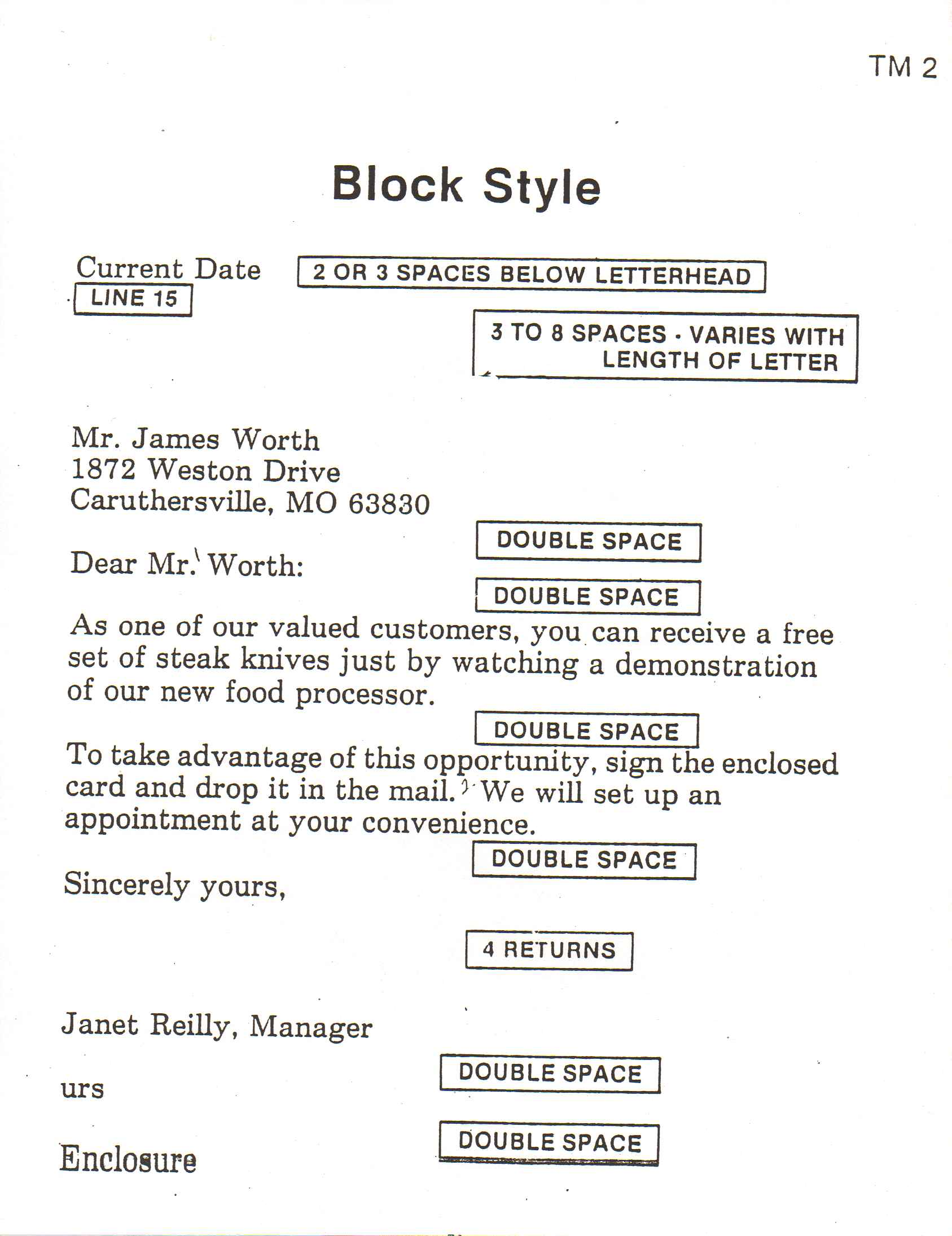 block style business letter format sample